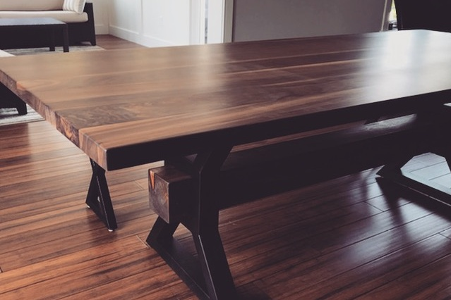 x-beam dining table with x frame bench