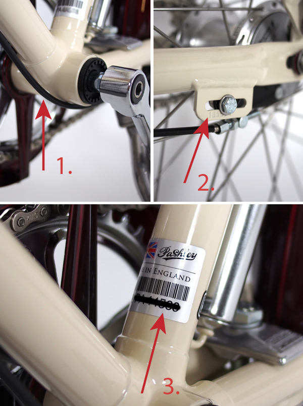 1. Frame number - bottom bracket 2. Frame number - left chainstay 3. Serial number