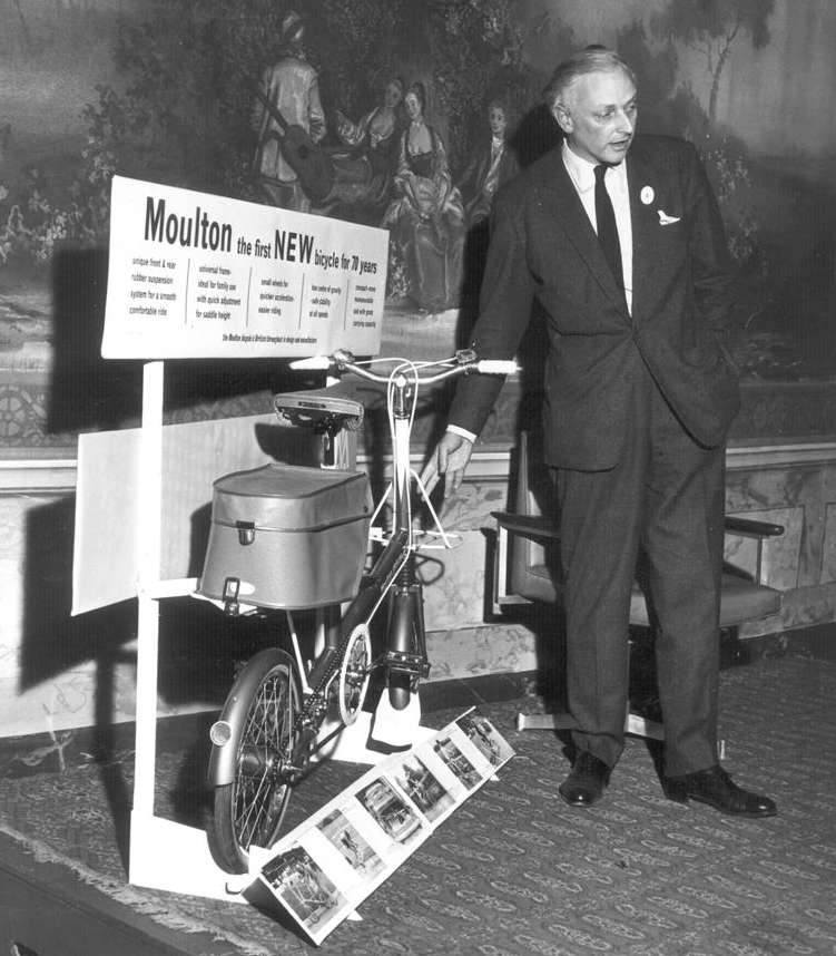 Alex Moulton unveils the first new bicycle for 70 years.