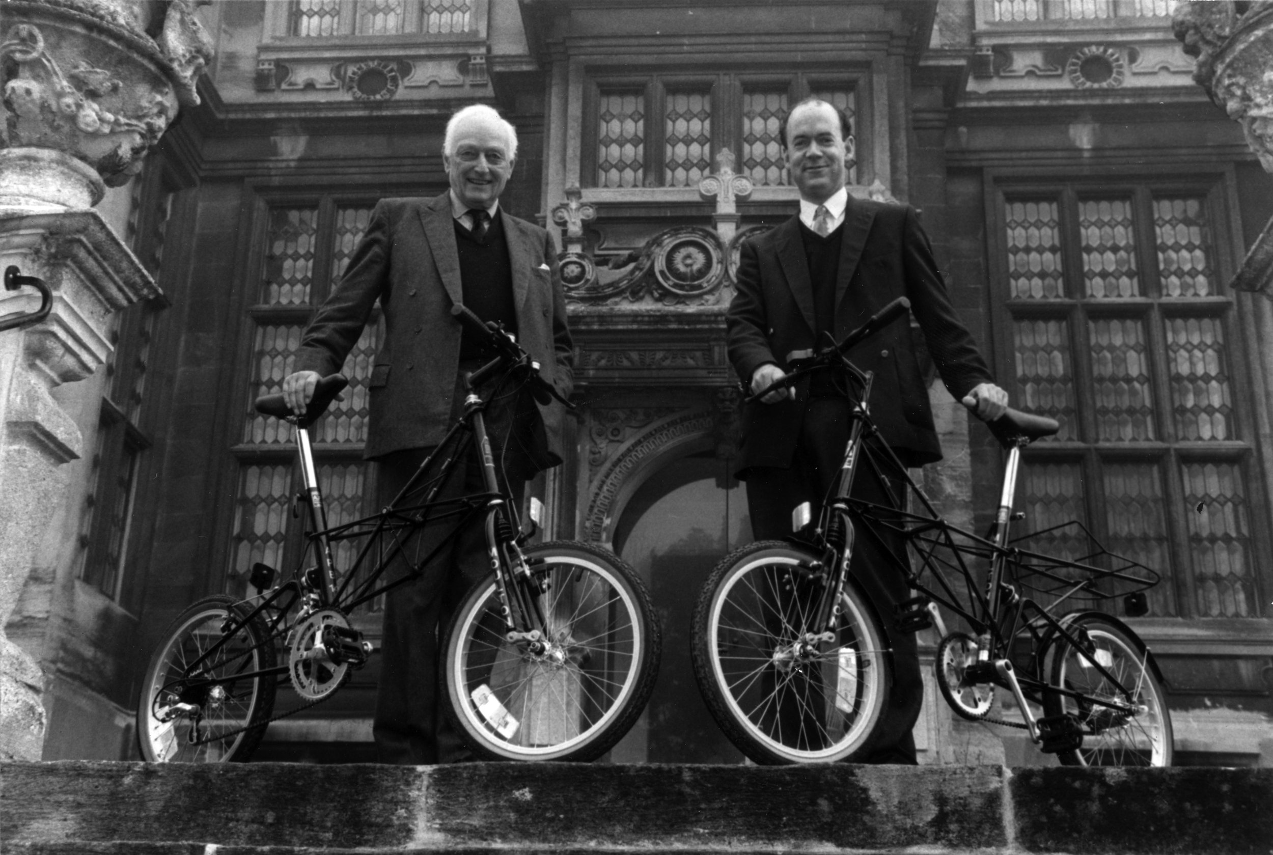 Alex Moulton and Tim Pashley at The Hall, for the launch of the APB 14 in 1993.