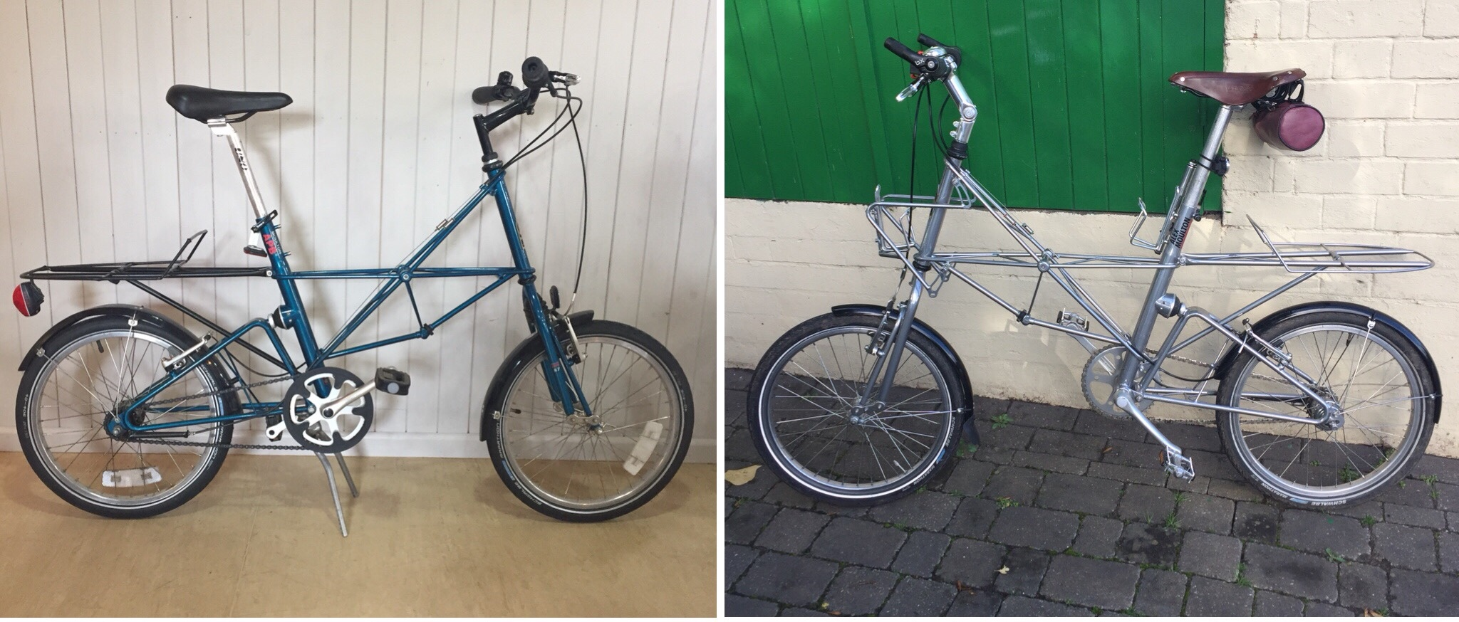 A customer's very original APB 7 in for a front suspension rebuild at The Traditional Cycle Shop recently and Fran Martin's APB 7 which was rebuilt last year and is fitted with one of the rear carriers manufactured last year by Moulton Bicycles.