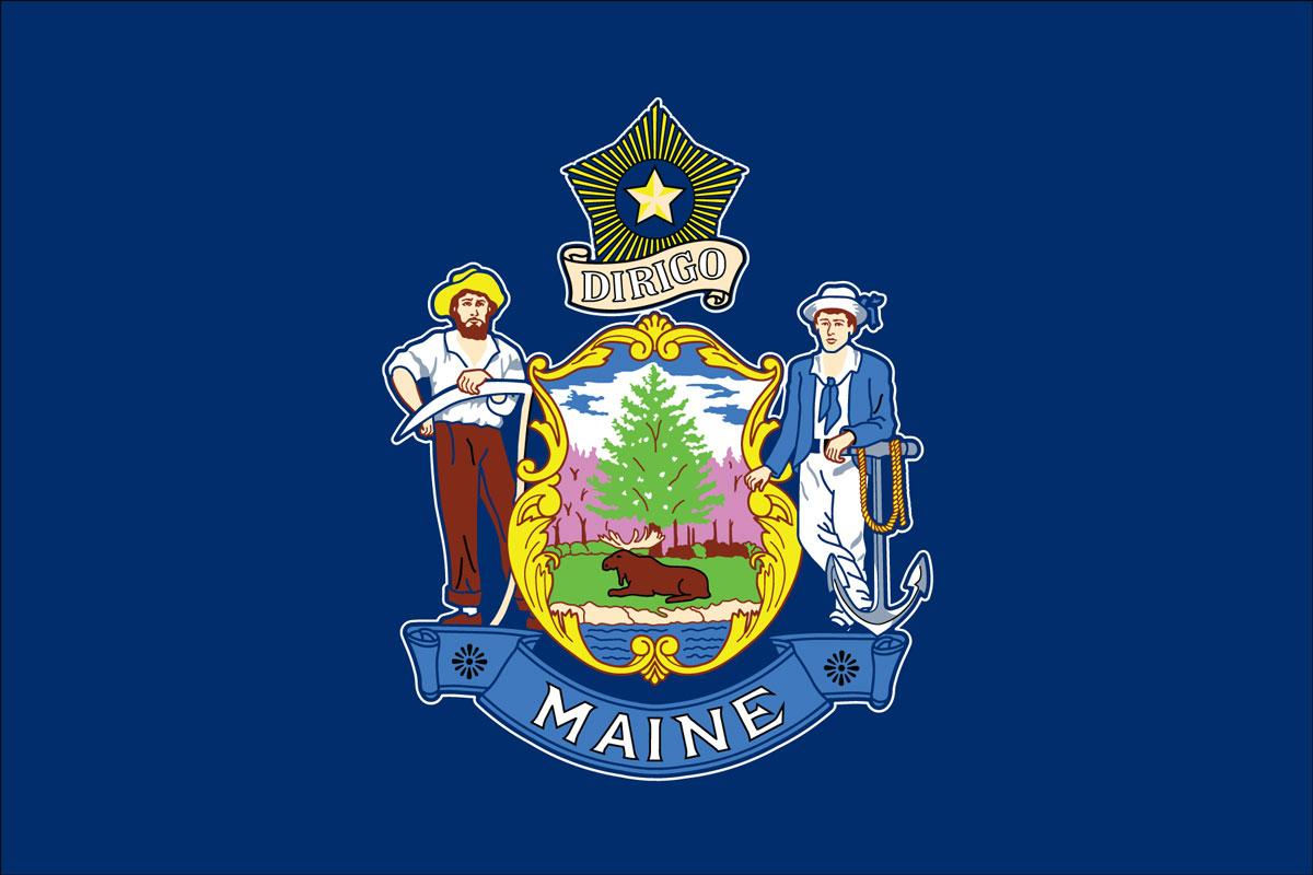Maine Flag - Adopted by Maine legislature of 1909. 'Dirigo' meaning 'I lead'