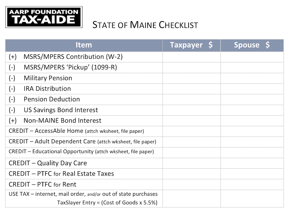 Maine Checklist - Income Modifications and Tax Credits