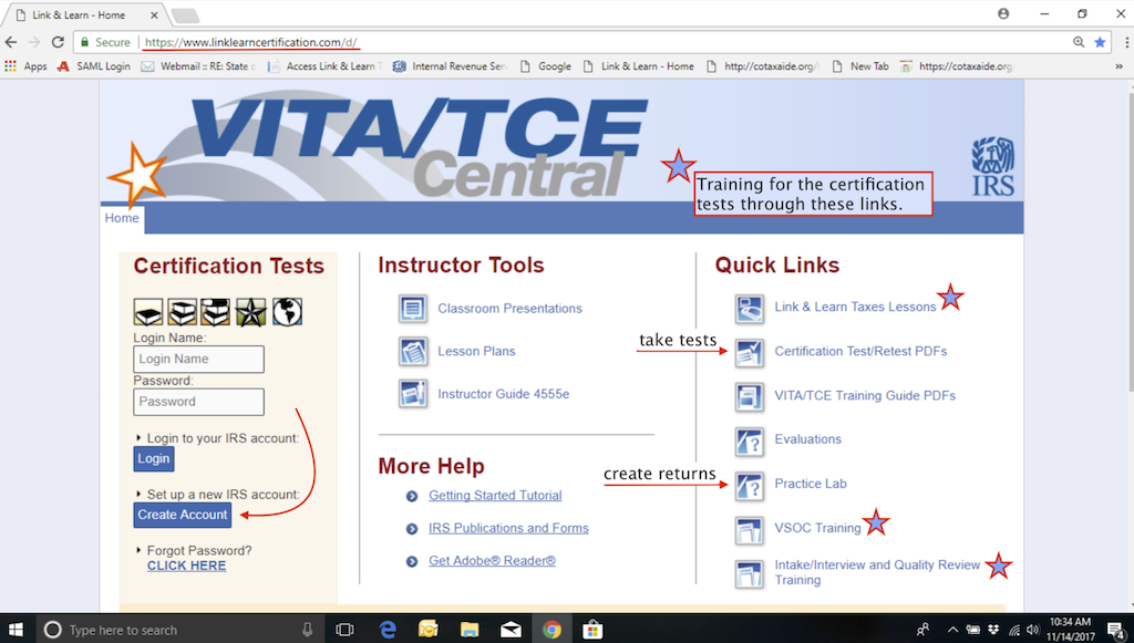 Click image to go to VITA/TCE Central. It has all the tools you need for training and testing.