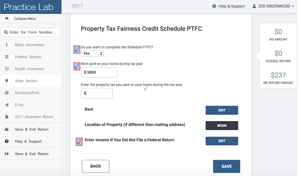 From the CREDITS Menu in the Maine Return SELECT  Property Tax Fairness Credit - Schedule PTFC