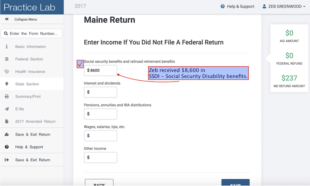 Enter Income If You Did Not File A Federal Return  as provided by taxpayer. Noting that SSDI is reported on the Social Security line
