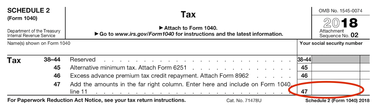 Schedule 2 - Total amount gets carried to Form 1040, Line 11