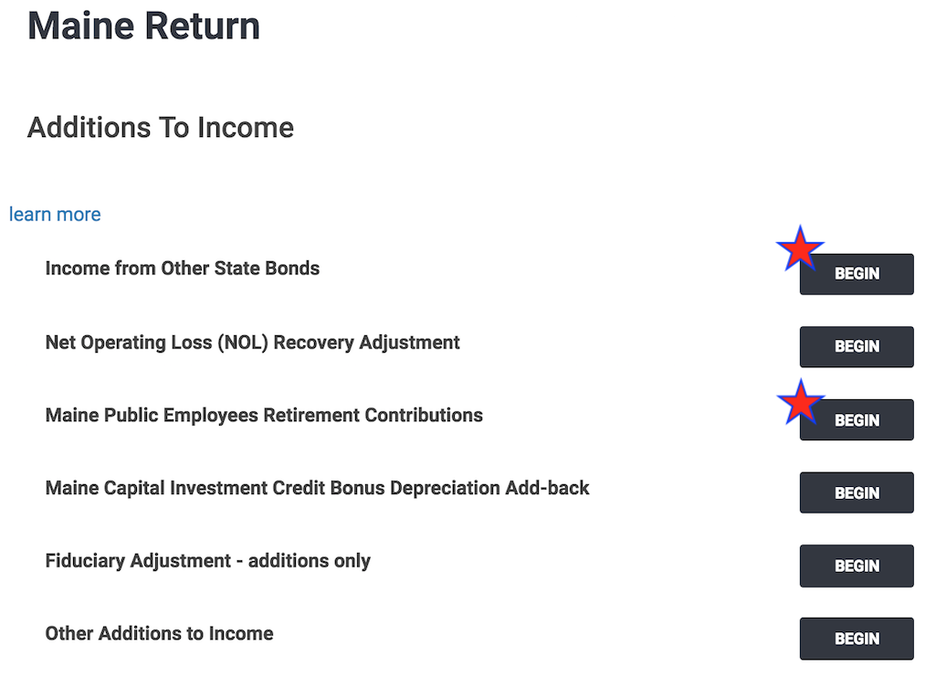 TaxSlayer's screen for Additions to Maine Income