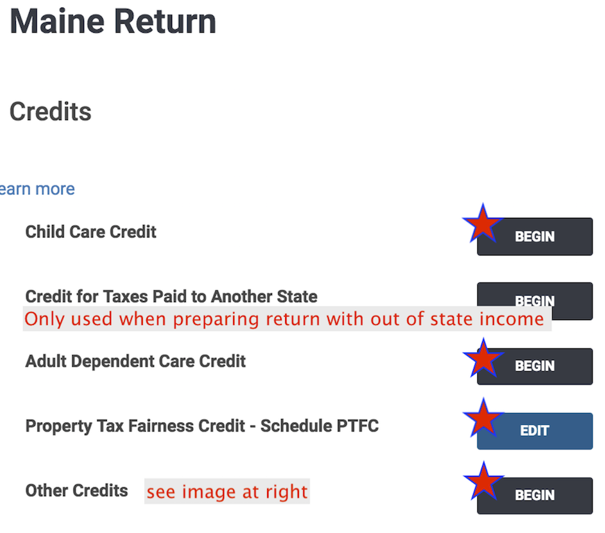 2018 Maine  CREDITS  menu in TaxSlayer ®