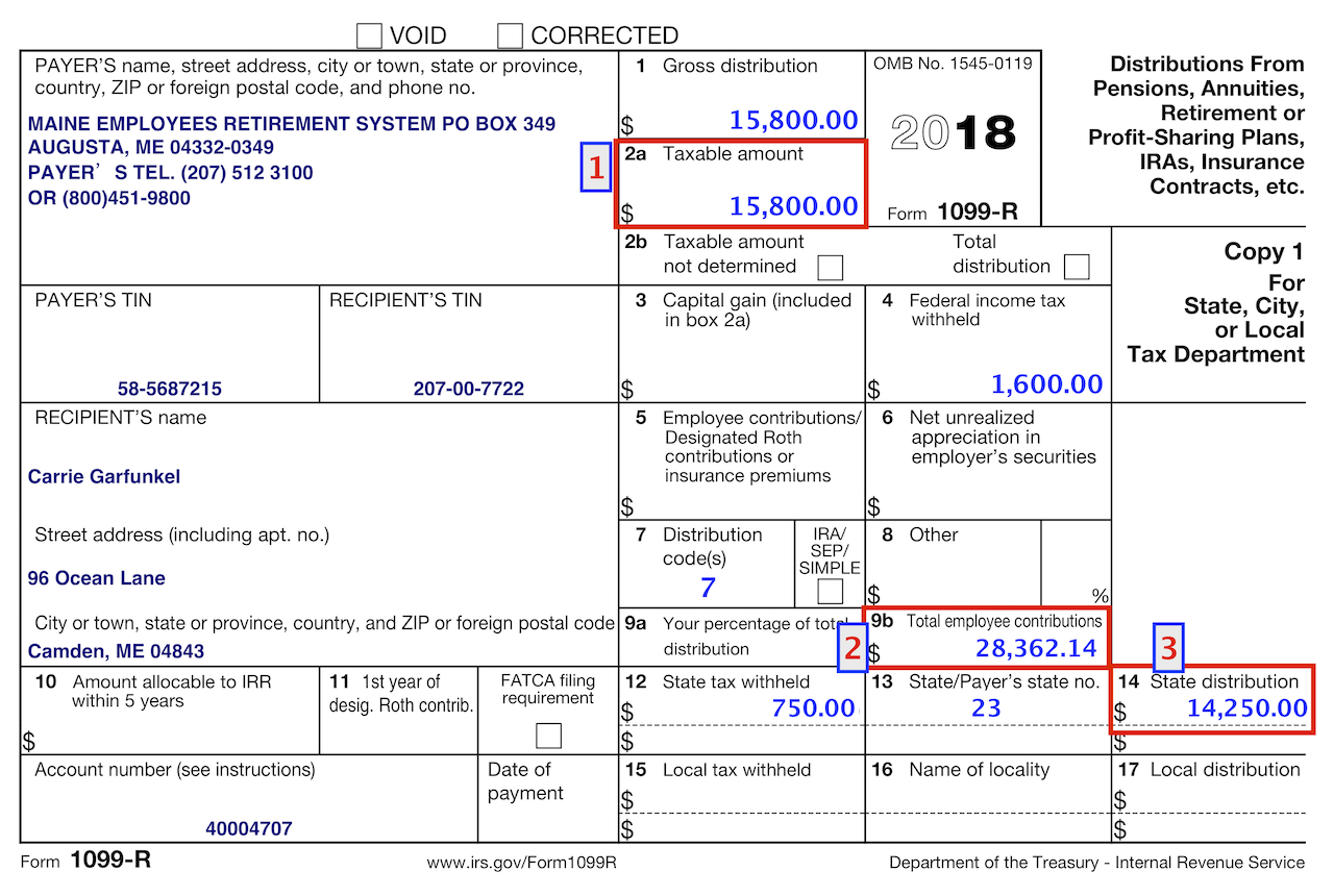 Use the amount in Box 14 for Pension Income Deduction