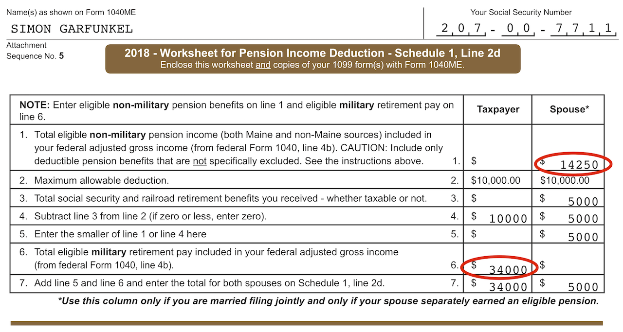 Manual entries made in the  Pension Income Deduction  screen displayed here on the Worksheet