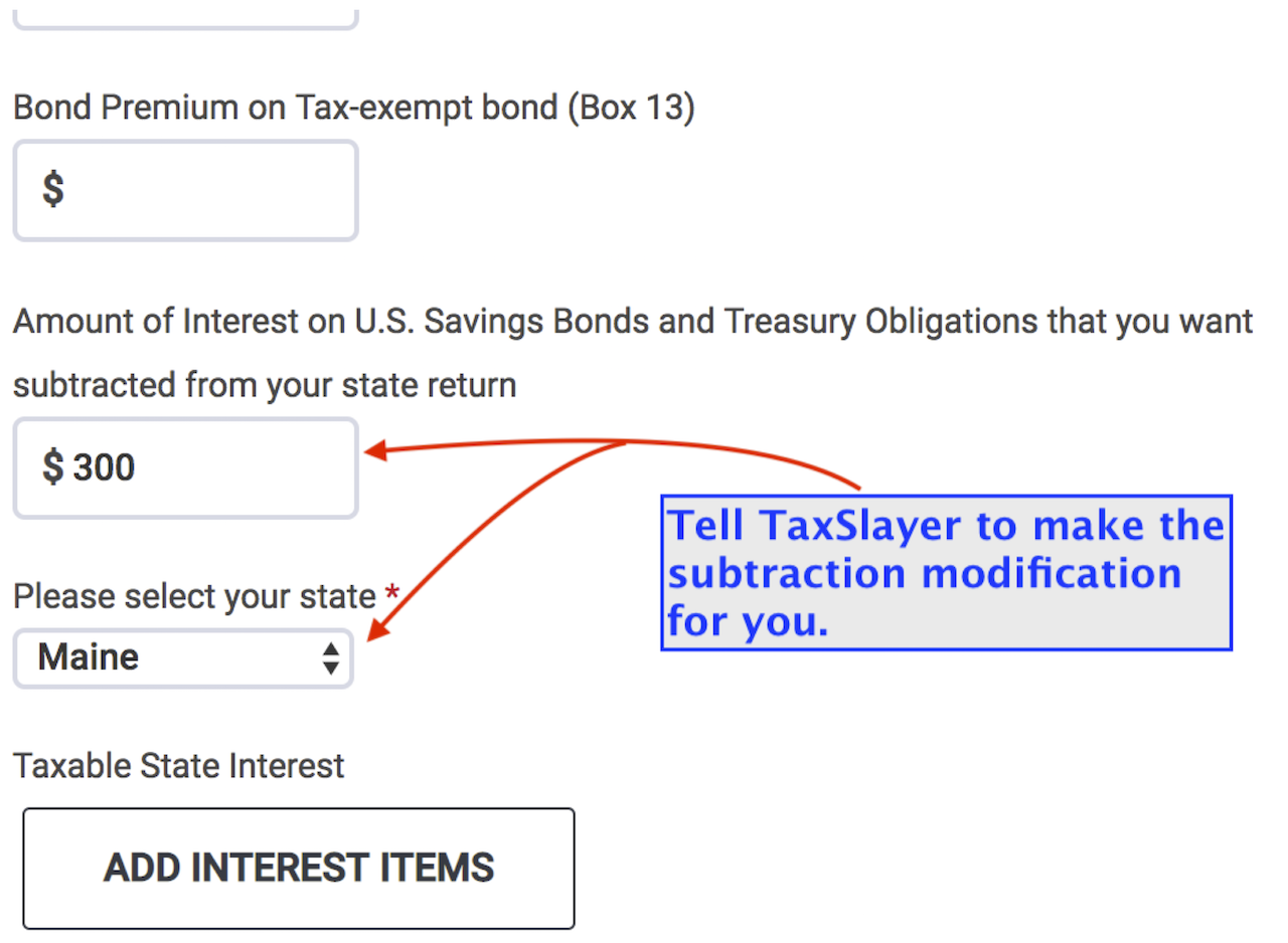 Federal Section data entry screen for Interest on 1099-INT. Scroll to the bottom of the screen to automatically make the subtraction modification in the Maine return.