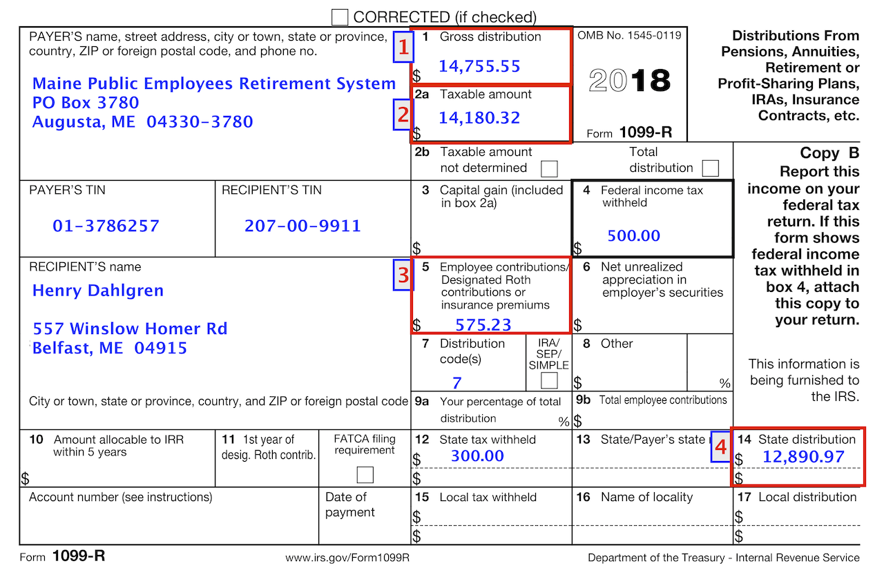 Typical 1099-R issued by MPERS. Yes. It's a lot to process :-)