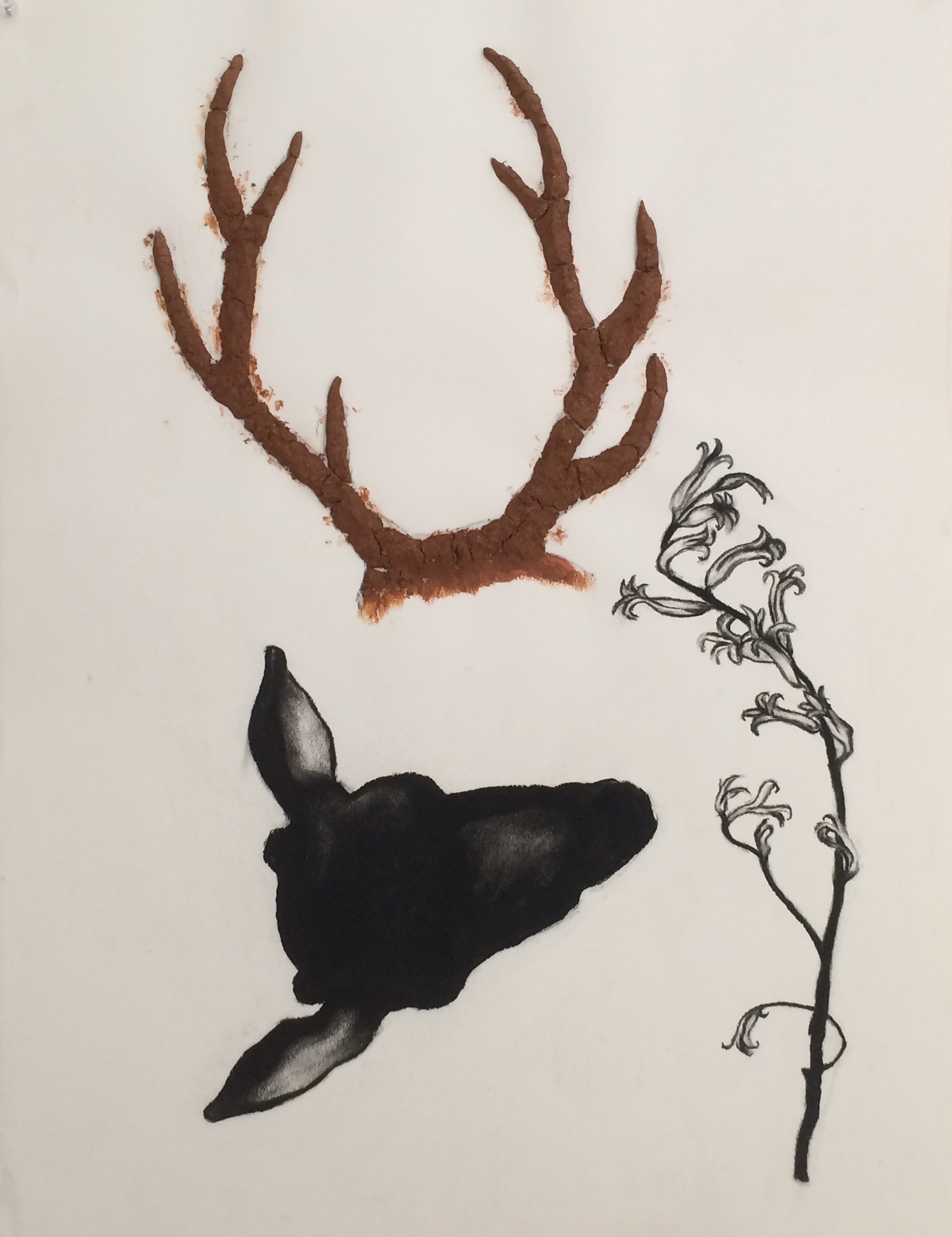 """Deer Clay Antler """"19x24"""" (charcoal,red clay)"""