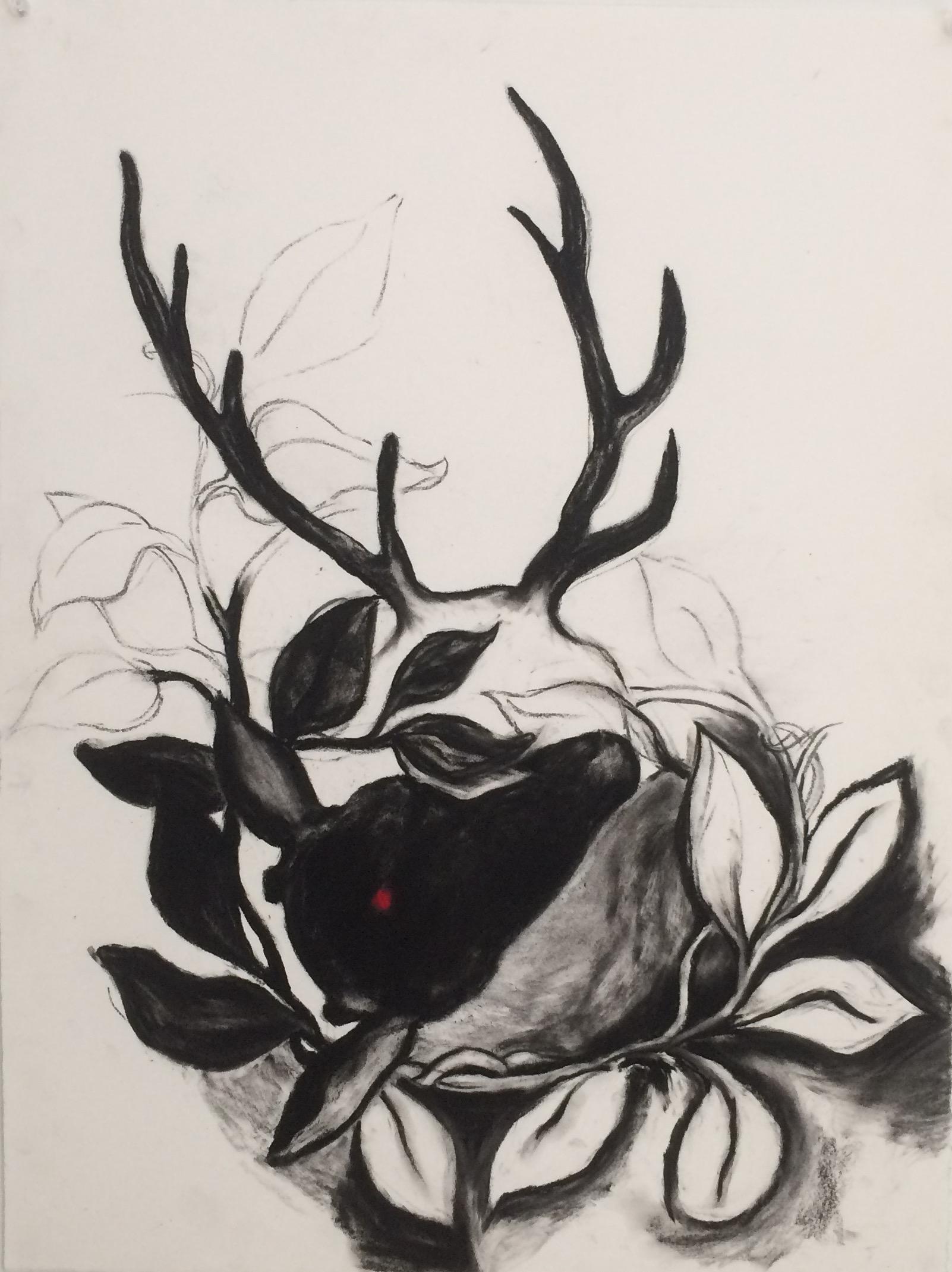 """Deer Red Spot """"19x24"""" (charcoal)"""