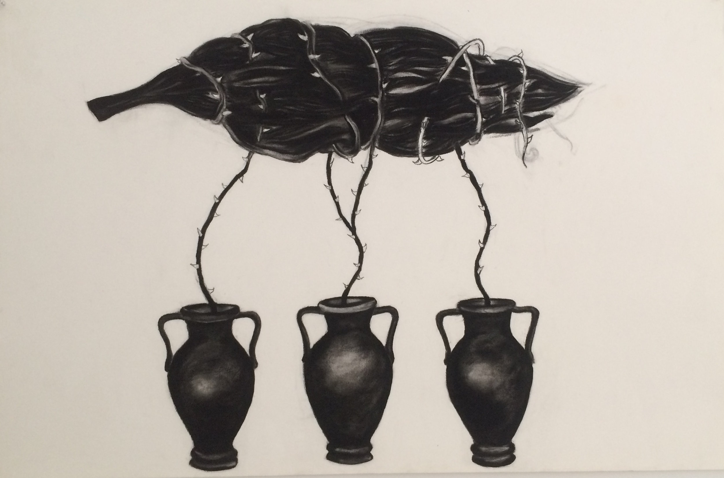 """Floating Tree Urns 24""""x38"""" (charcoal)"""
