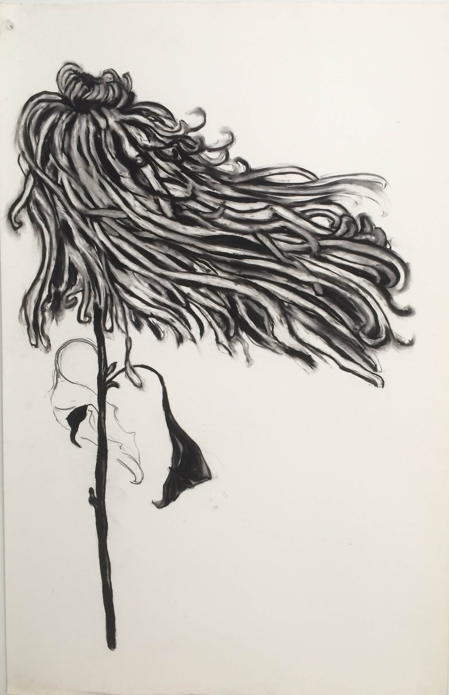 """Flower Blowing """"38x24"""" (charcoal)"""