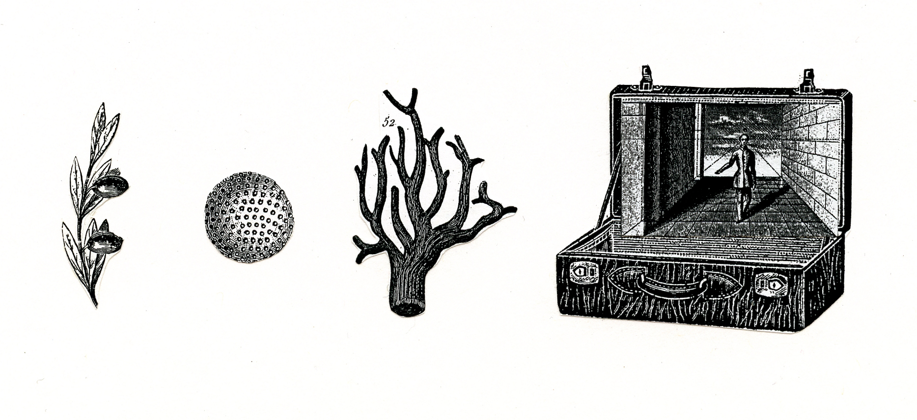 """Suitcase Object Collage 3"""" x 6"""""""
