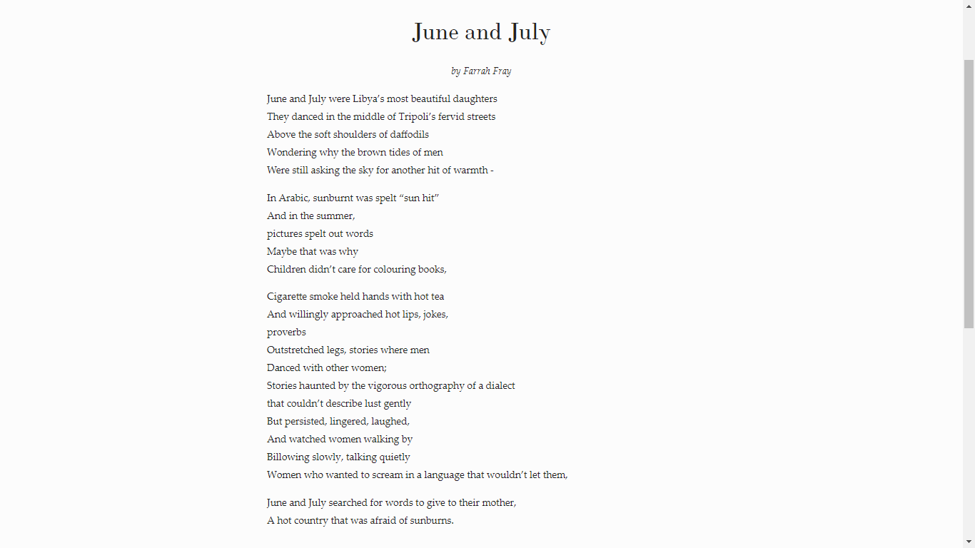 """""""June and July"""" poem by Farrah Fray courtesy of the writer"""