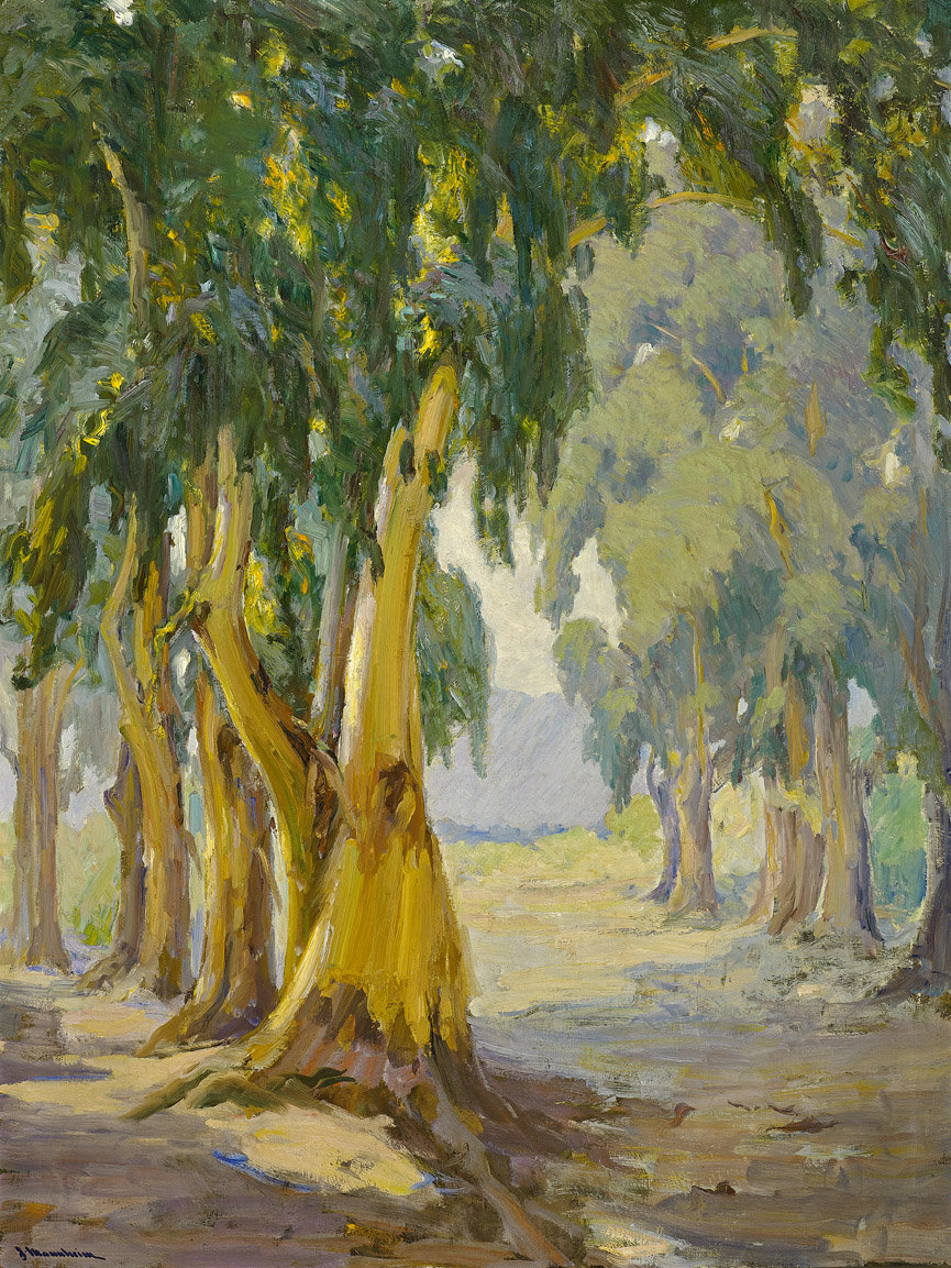 On the Road to San Gabriel  by Jean Mannheim (1863 - 1945)    48 x 36 inches, oil on canvas    Class of 1920    Conservation is funded by the Historical Collections Council of California.