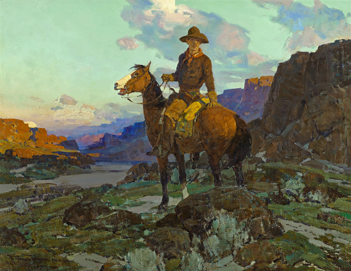 The Cowboy  by Frank Tenney Johnson (1874 - 1939)    28 x 36 inches, oil on canvas    Class of Summer 1937