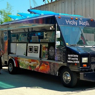 Holy Aioli 10a-8p   The ultimate food truck for divine sandwiches & salads. We offer unique filings and aiolis that turn sandwiches and paninis on their heads.Holy Aioli carries Thumann's meat products, made from the finest ingredients, all natural, great tasting and heart healthy. Thumann's uses no fillers, no extenders, no artificial flavors or colors, no gluten and of course no MSG.All of our delicious Aioli are home made using our own secret recipes and the ingredients are carefully selected from local suppliers to ensure consistent freshness and quality.    Website >