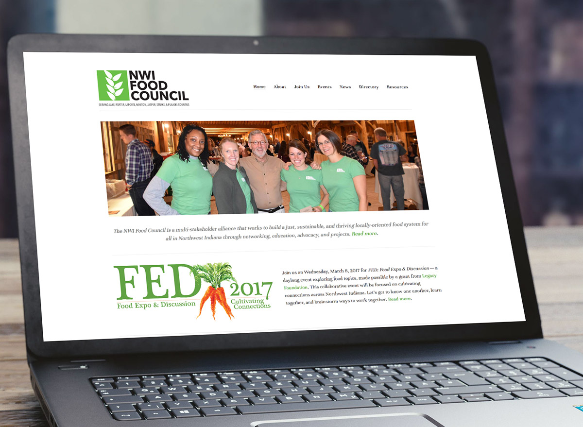 NWI Food Council - Food Council WebsiteThis food council website includes an event calendar, news area with lots of photos, and email signup.