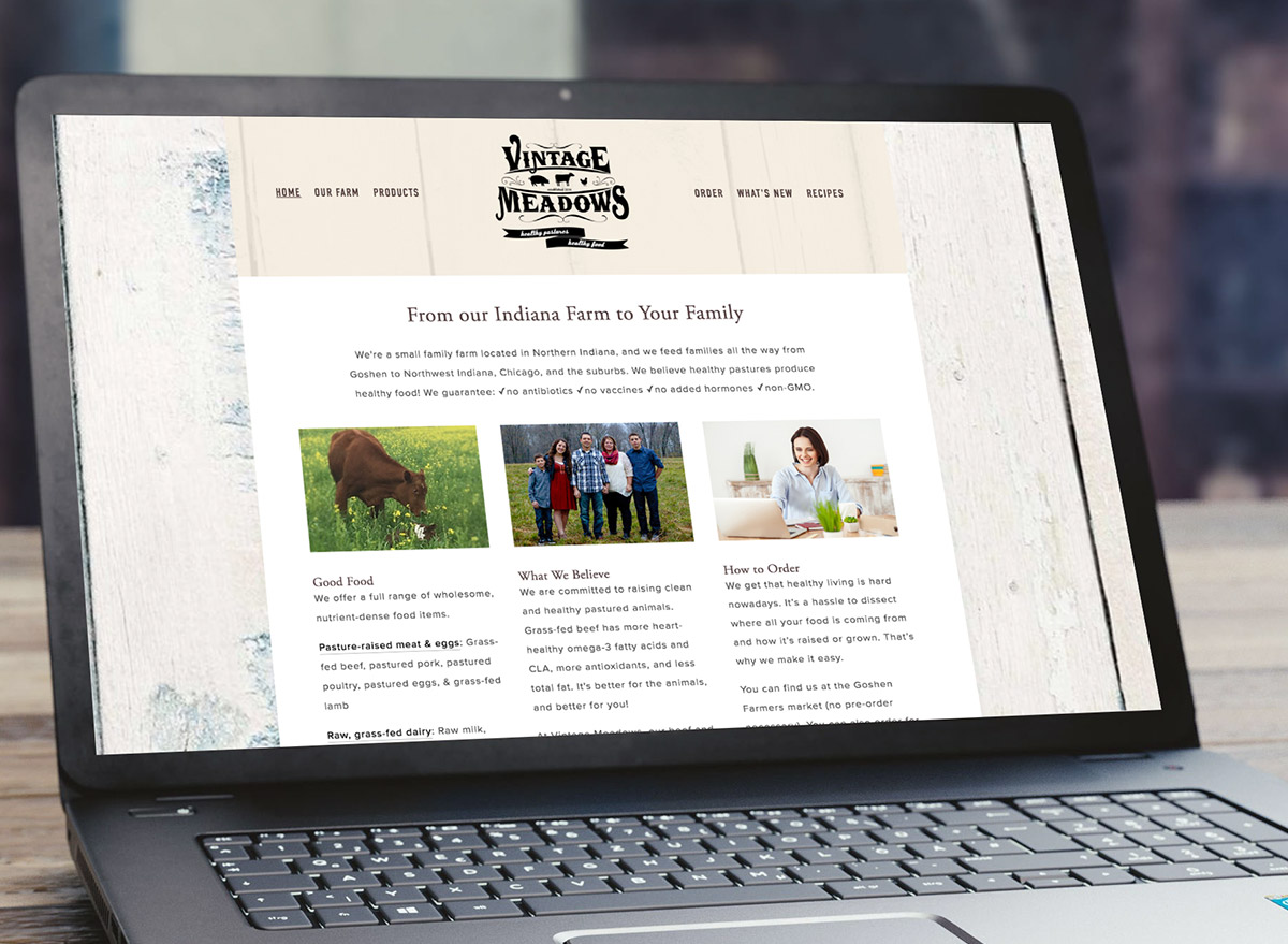 Vintage Meadows Farm - Family Farm WebsiteThis farm website includes recipes, news area, email signup, and interactive contact form.