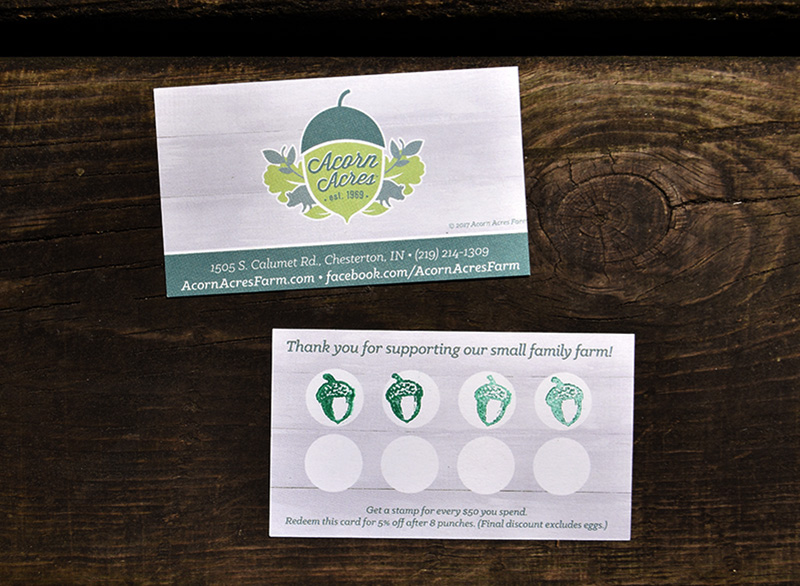 Farm Loyalty Card - Acorn Acres FarmWe sourced a fun custom stamp and designed this loyalty card using the farm's existing logo.