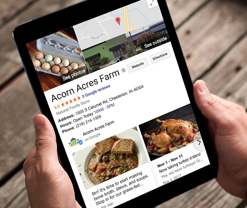 Google Updates - Acorn Acres FarmWe post weekly updates for this farm on Google, so searchers see the latest news at their fingertips.