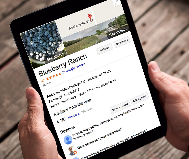 Google Listing - Organic Blueberry RanchWe created a Google listing for the Blueberry Ranch to help new customers discover the farm.