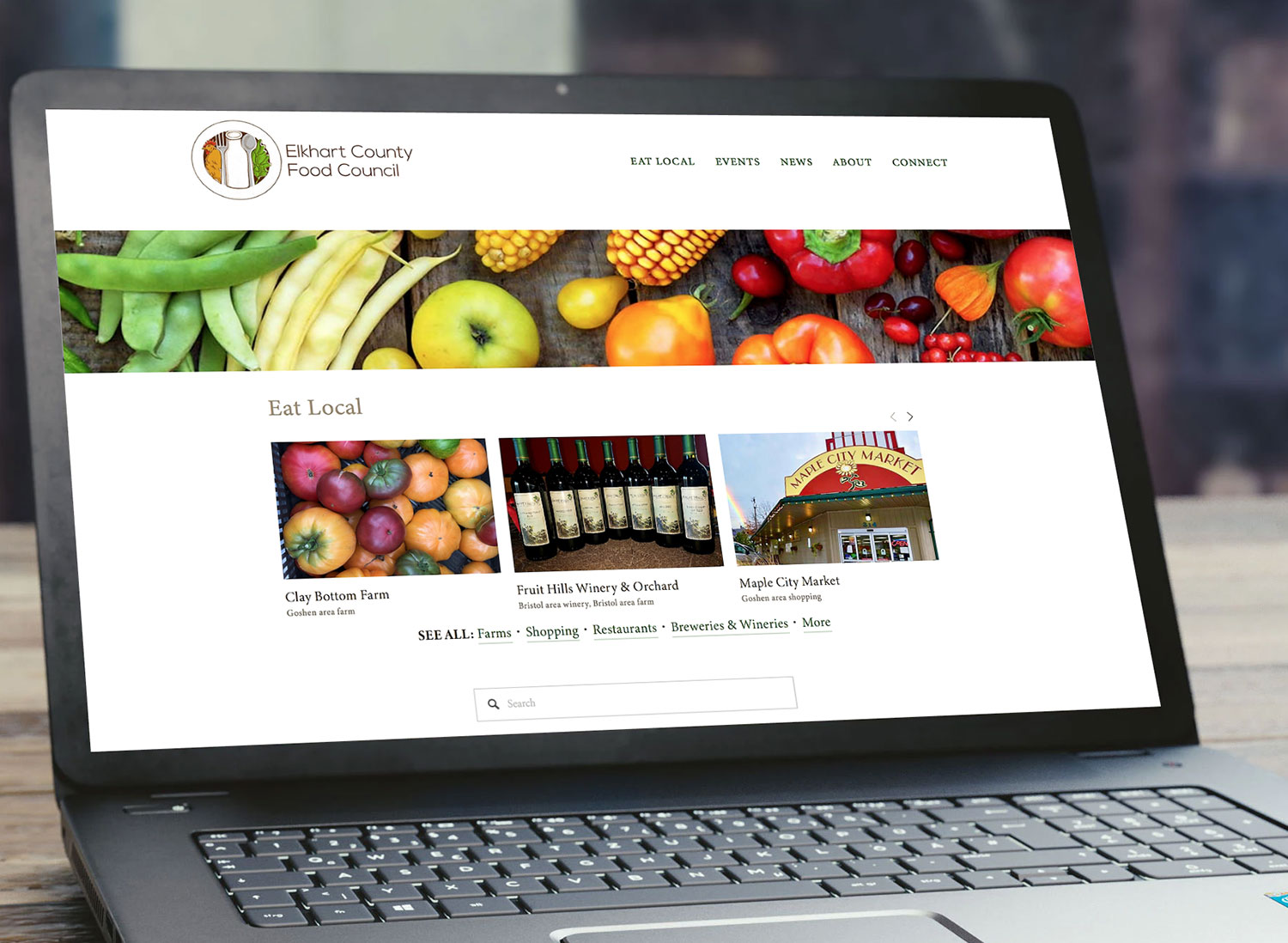 Elkhart County Food Council - Food Council WebsiteThis food council website includes a directory of local farms and other local food options, plus an event calendar, online donation area, and a blog.