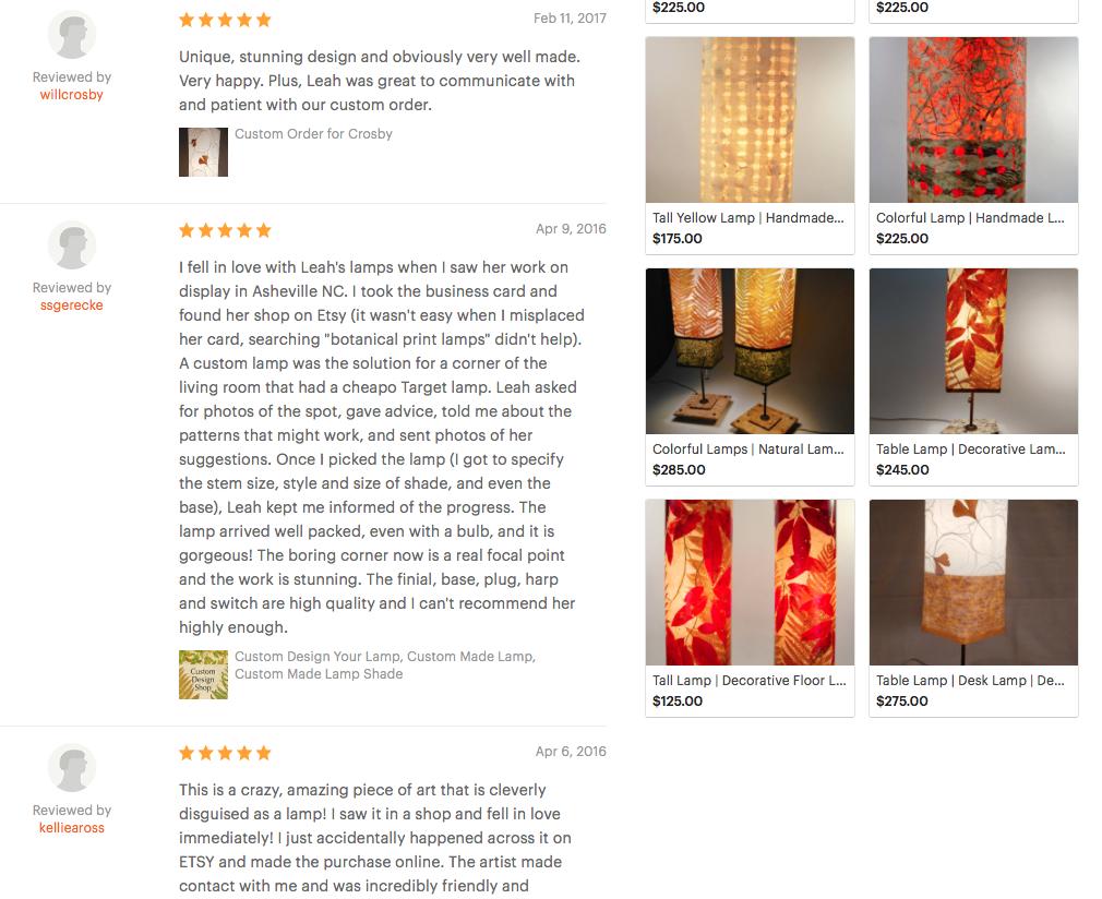 Luminosa Lighting Reviews on Etsy