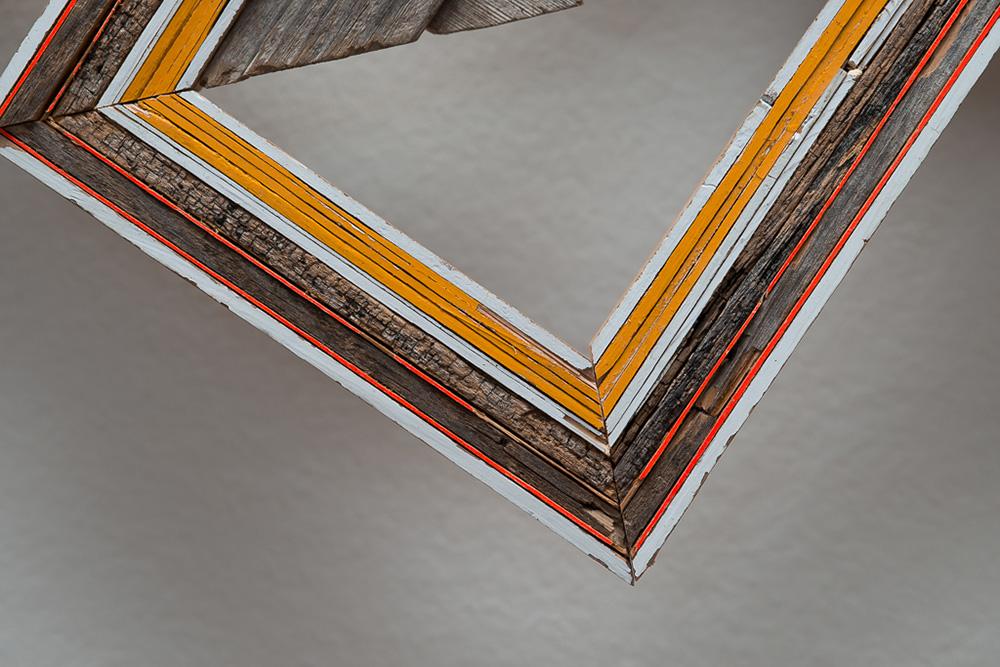 Detail -  Three Broken Lattices  (Reedsburg, WI/ New Orleans, LA, Ann Arbor, MI), 2014  Broken wood lattice collected from streets of New Orleans, wood collected from decaying rural outbuildings in Reedsburg WI, painted wood, nails, screws.