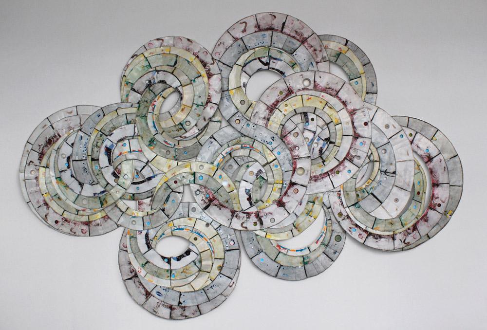 "Vessel  (Reedsburg, WI - Detroit, MI), 2012  Paper fast food containers, plastic, 144"" x 96"""