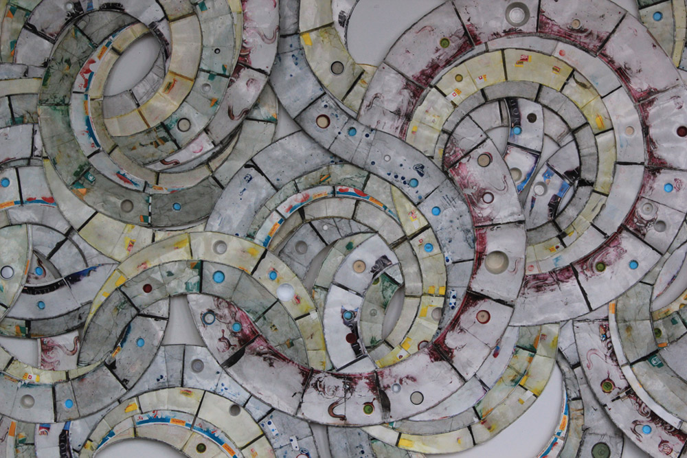 "[DETAIL] Vessel  (Reedsburg, WI - Detroit, MI), 2012  Paper fast food containers, plastic (Reedsburg, WI - Detroit, MI), 2012, 144"" x 96"""