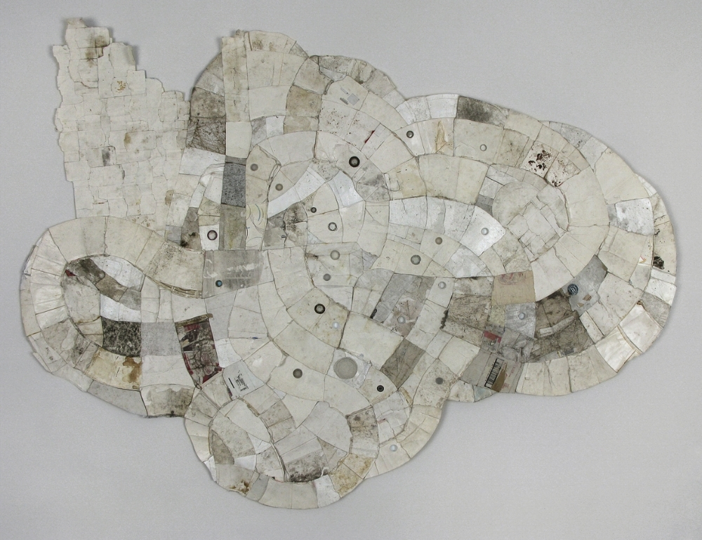 Neah Gebur    (Leslie, MI to Hastings, MI)    2009; found paper, Styrofoam, and plastic (throwaway materials gathered on collection-walks); 102¨ x 78¨ x 1.5