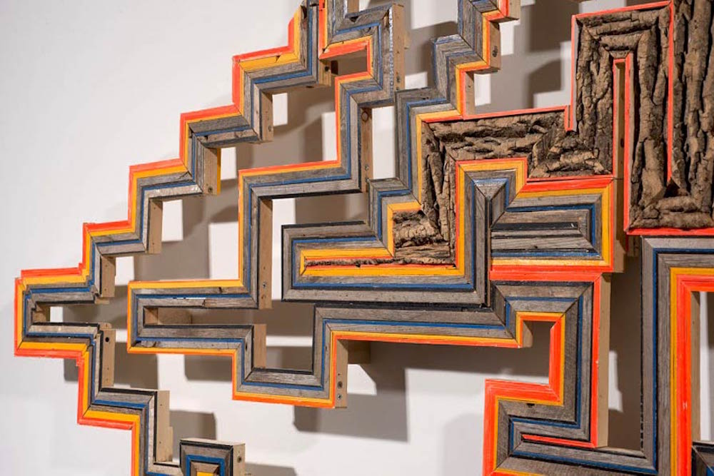 Detail -  Shukke  (Reedsburg, WI/ Marquette, NE/ Utica, NY), 2015  Wood collected from rural outbuildings, found pallet wood, cord wood, painted wood, nails and screws, 48 x 72 inches