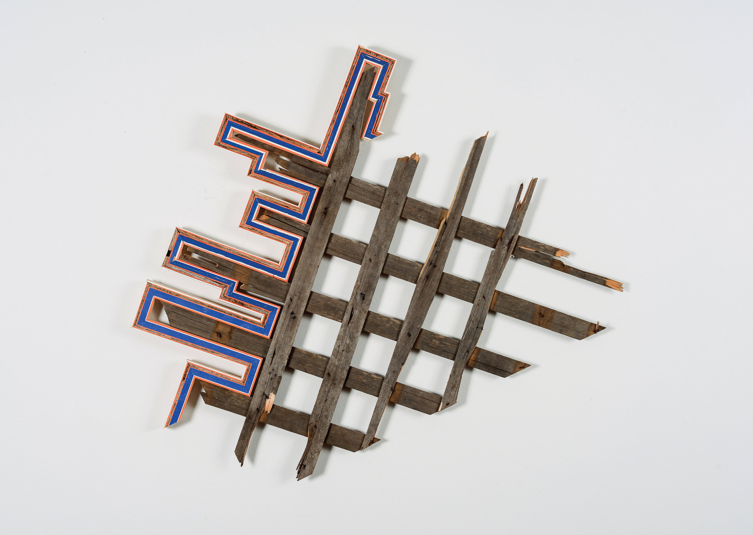 Broken Lattice  (Reedsburg, WI/ New Orleans, LA), 2013  Broken wood lattice collected from streetsof New Orleans, wood collected from decaying ruraloutbuildings in Reedsburg WI, painted wood, nails, screws, 30 x 28 inches