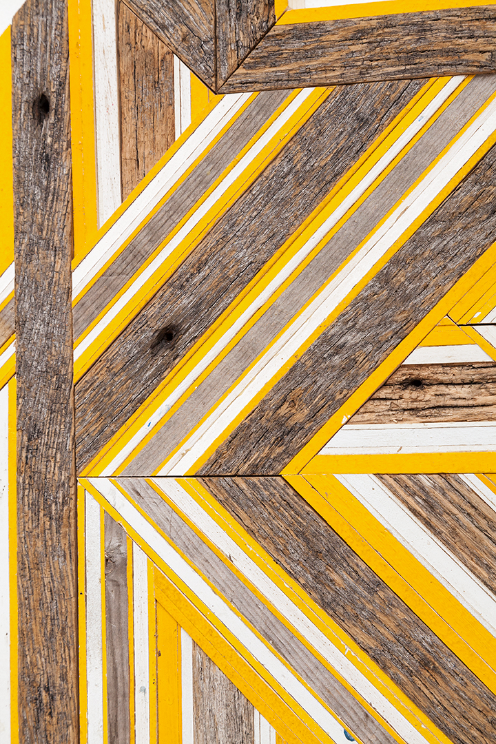 "DETAIL -   Untitled  (Reedsburg, WI/Somerville, MA/Ann Arbor, MI), 2017. Found wood, painted pine, 78"" x 24"""
