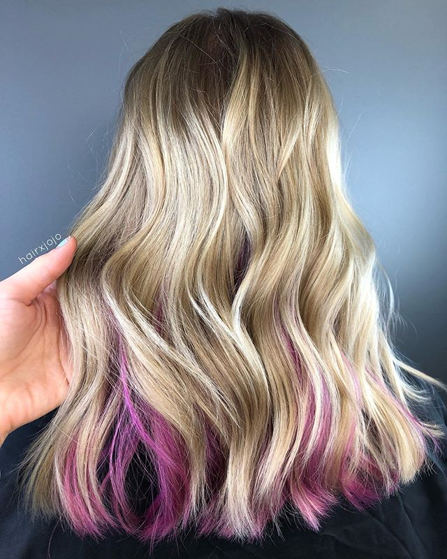 P e e k a b o o 🎀  This new client of mine wanted balayage but with a pop of pink underneath. What a fun twist and a playful statement! #HAIRXJOJO #HAIRBYJOANNECHUNG
