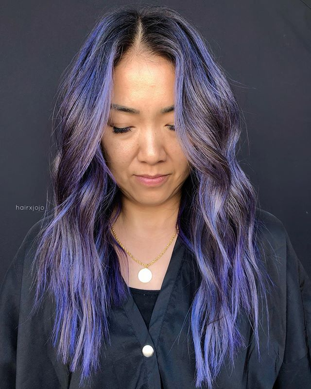 the L U C Y 🔮 I am livinggg for this ethereal color! For the indigo we used joico diluted with Olaplex #2 and conditioner! It's a fun change without having to commit since it will fade with a few washes.  For the finishing touches we styled her look using @randco Glittering smooth and shine spray on the ends, Sand Castle dry texture crème on the roots and mids to create that beachy texture (holy grail product esp for asian hair that tends to be slippery, dries into a dry shampoo), along with Death Valley dry shampoo for all around good measure. Thank you @randco for the goodies! Looove their brand and aesthetic 👌🏻✨ #HAIRXJOJO #HAIRBYJOANNECHUNG #RandCoLove