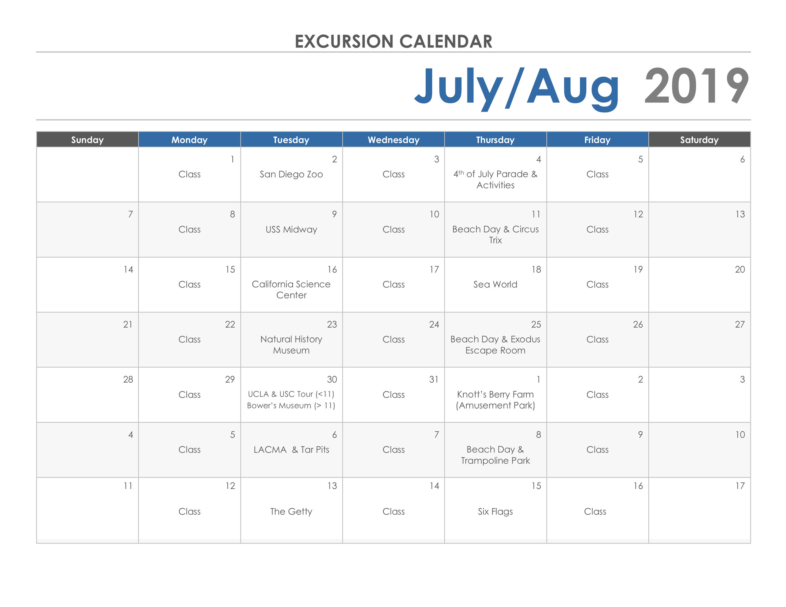 For a downloadable file of the calendar please click here