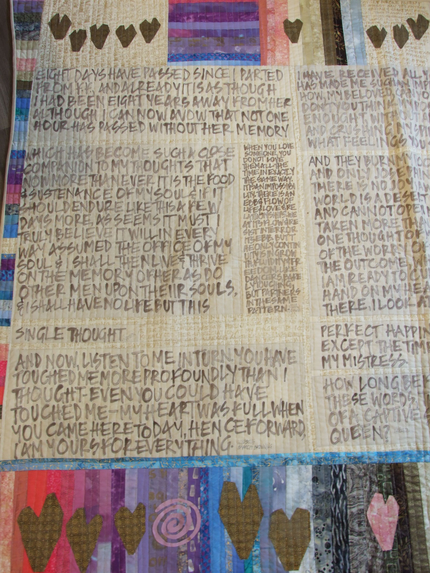 Art quilt with hand lettering