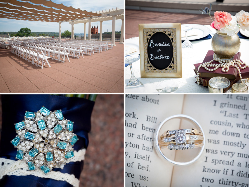 12-dowtown-stillwater-public-library-rooftop-summer-wedding-minnesota-ceremony-reception-details-literary-couples-table-markers-ring-in-book-detail-melanie-mahonen-photography