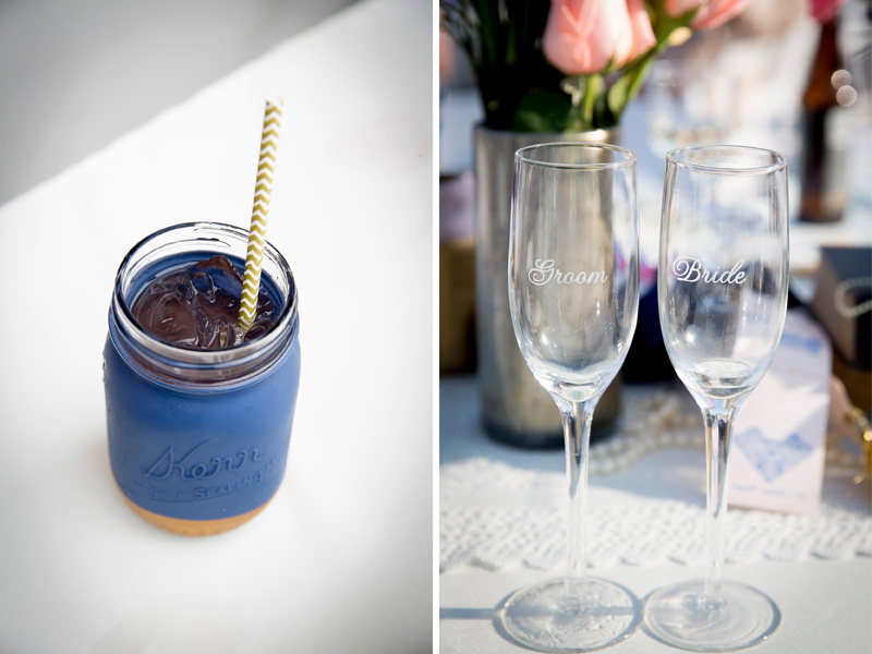 17-wedding-reception-details-signature-drink-navy-blue-gold-mason-jar-bride-groom-champagne-glasses-melanie-mahonen-photography