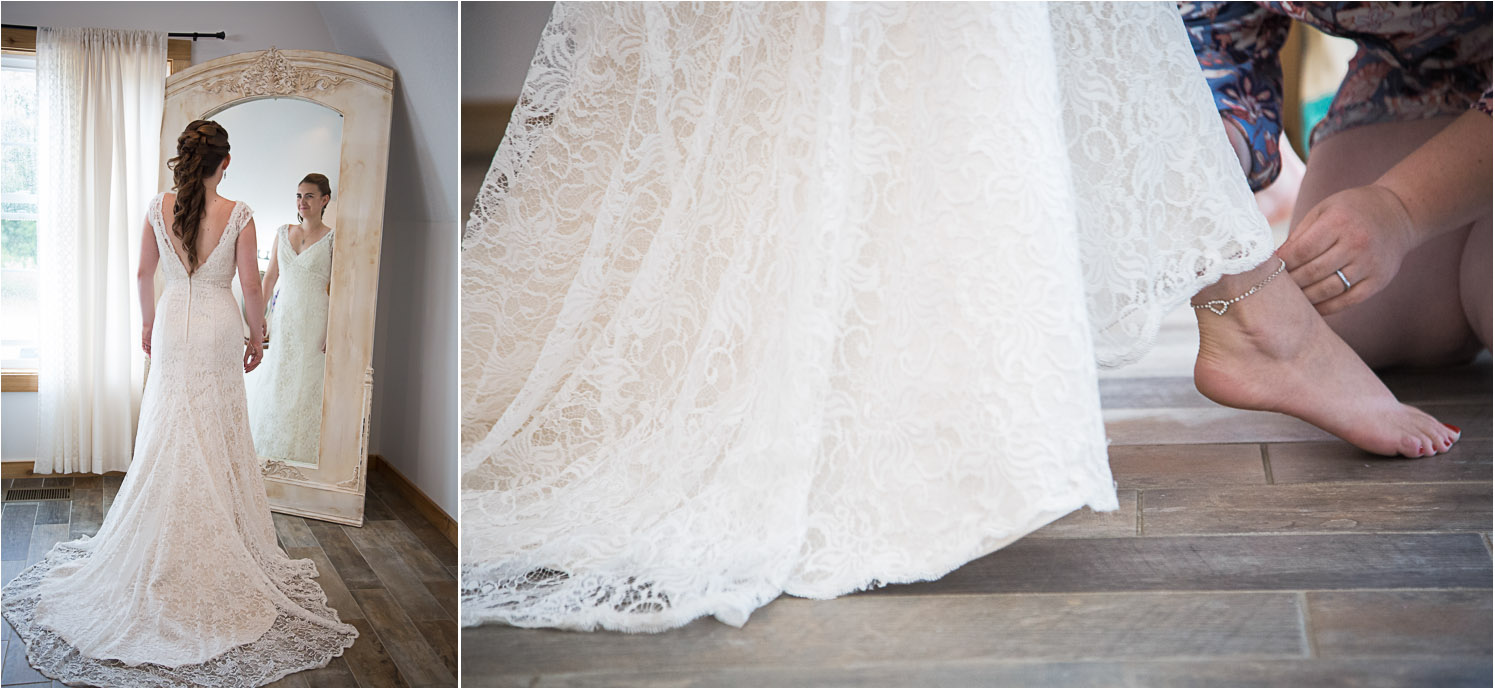 Joanna's lace dress went perfectly with the shabby chic vibe at Fruber Farms! We also loved the giant room that Sean had to get ready in complete with pin ball machine!