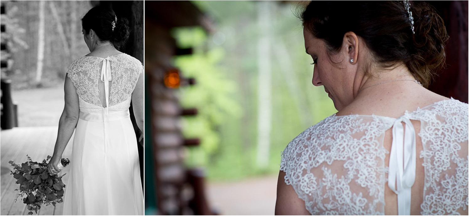 10-cabin-wedding-rainy-day-beautiful-bride-lacy-bridal-gown-back-mahonen-photography