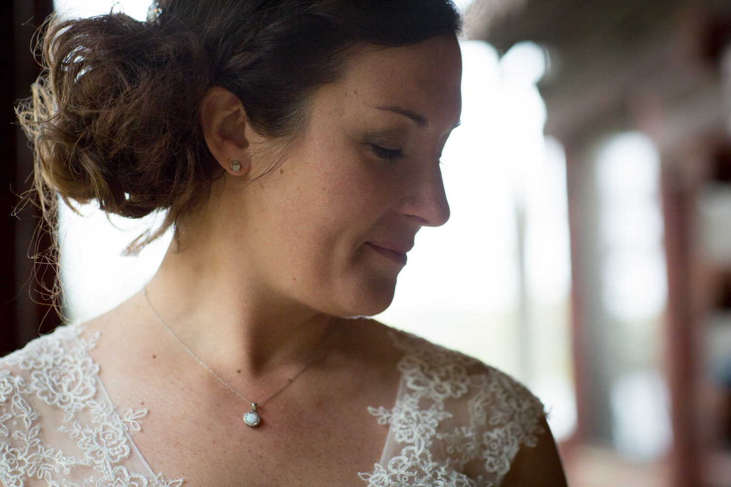 11-cabin-wedding-beautiful-bride-bridal-portrait-lacy-gown-opal-necklace-dark-and-moody-mahonen-photography