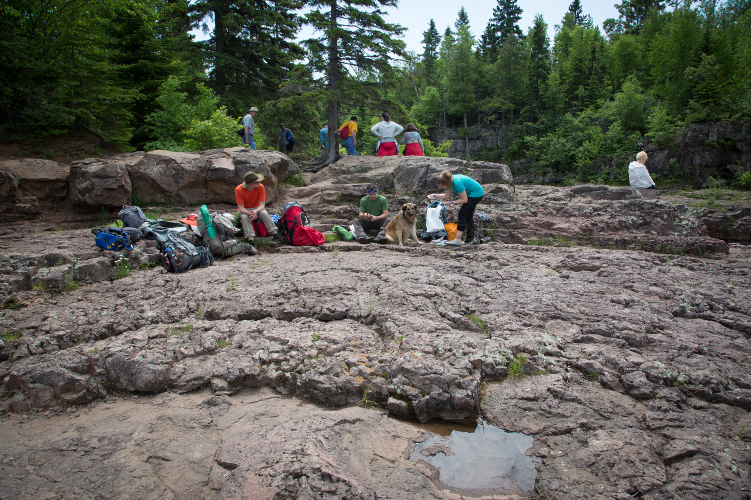 We parked our dirty selves on the rocks of the temperance river right in the middle of the tourists and ate our lunch.